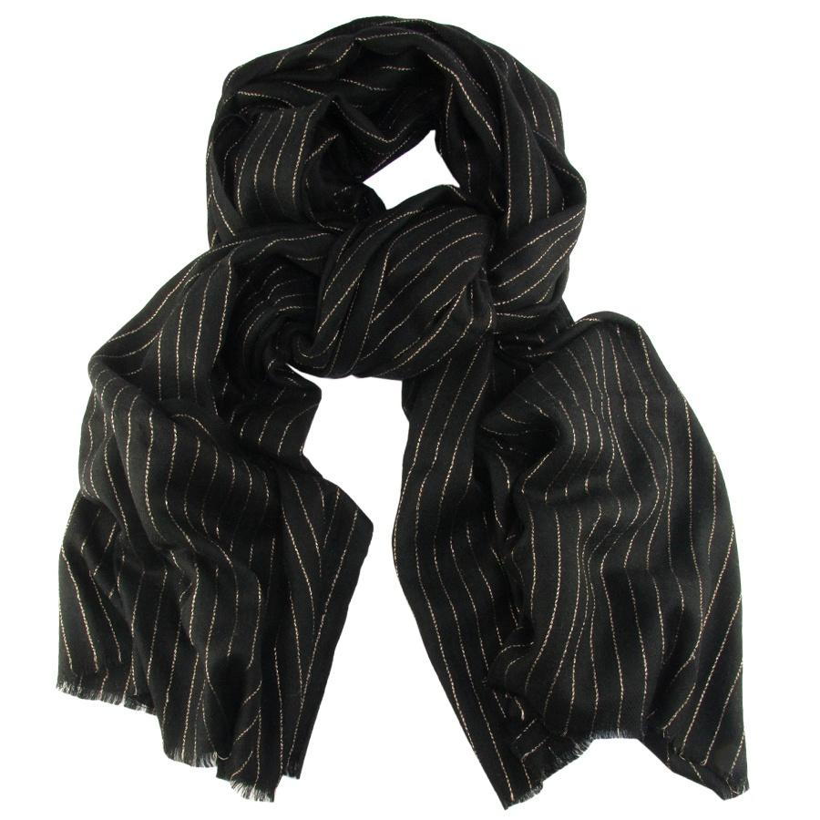 Black.co.uk Black Cashmere Shawl With Fine Gold