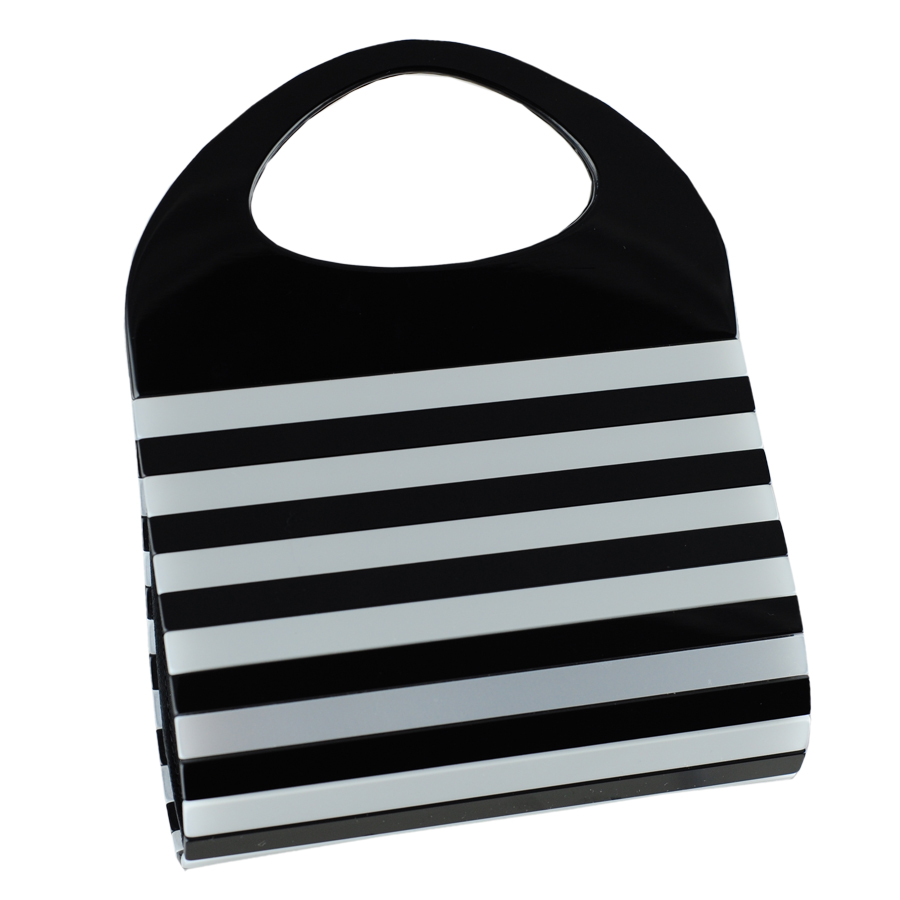 Black.co.uk Clio Black & Silver Striped Cocktail Bag in Black | Lyst