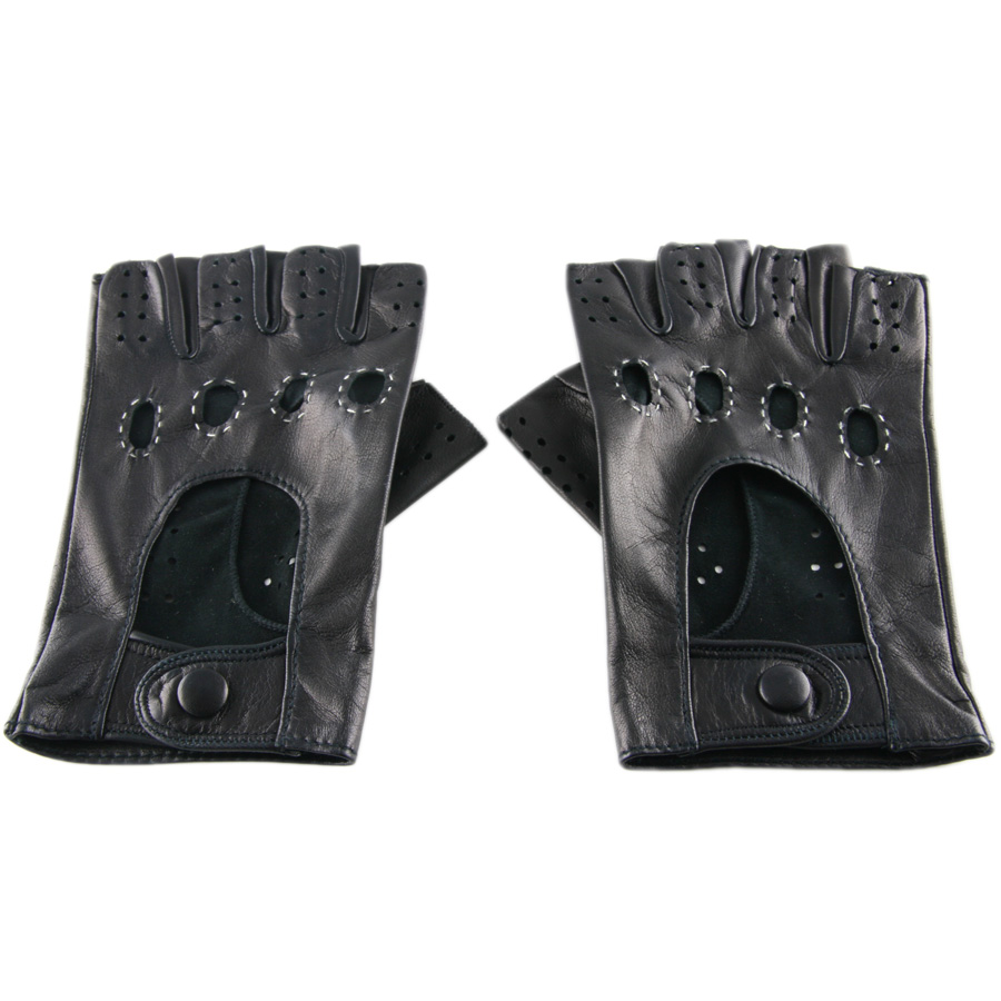 Shorty leather driving gloves fingerless - Brown Leather Fingerless Motorcycle Gloves