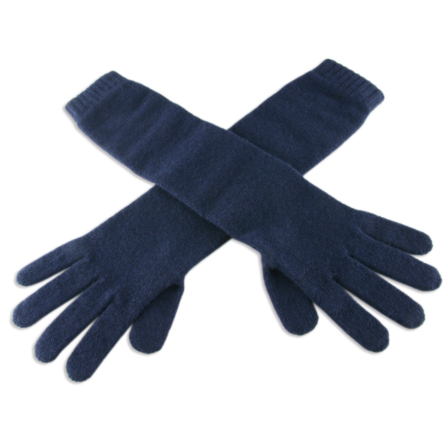 Ladies leather gloves navy - Leather Long Gloves Uk