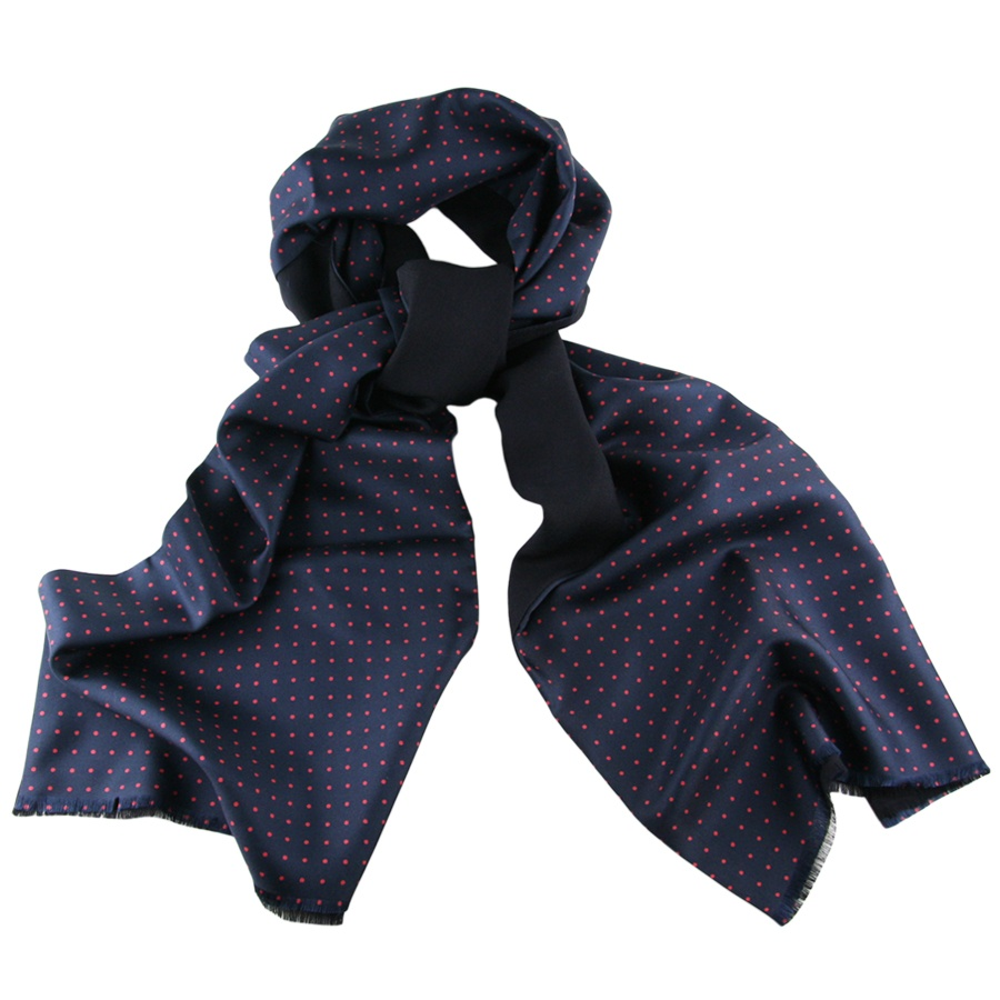 Black Co Uk Navy Blue And Red Polka Dot Italian Silk Scarf