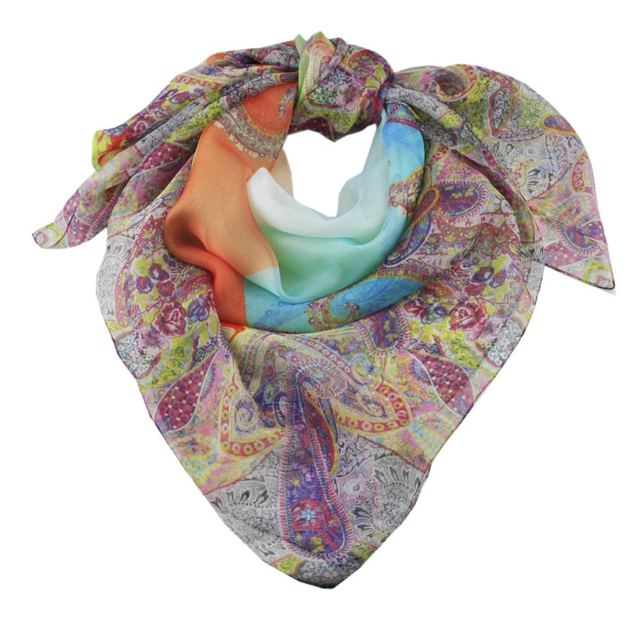 black co uk paisley print italian silk square scarf in
