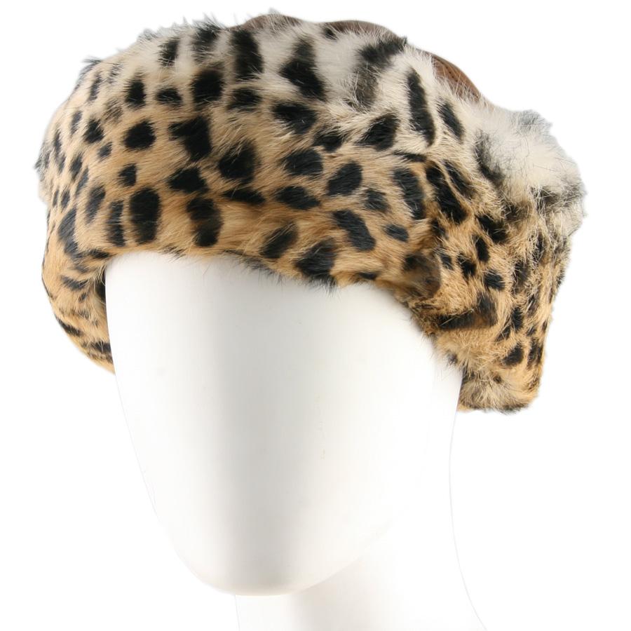 Black Co Uk Tan Leather And Leopard Print Rabbit Fur Hat