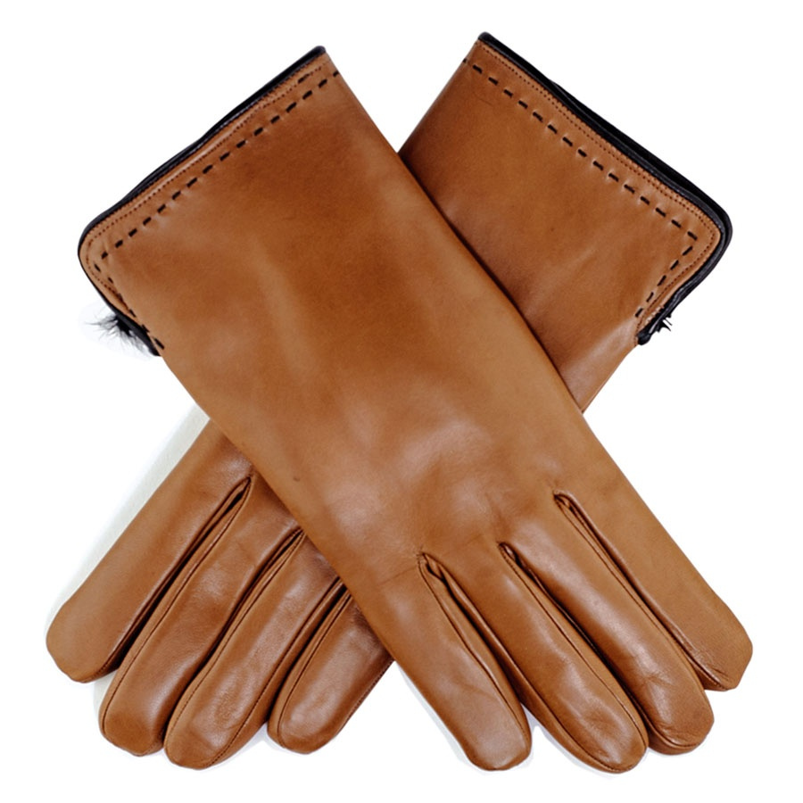 Mens leather gloves rabbit fur lined - Gallery
