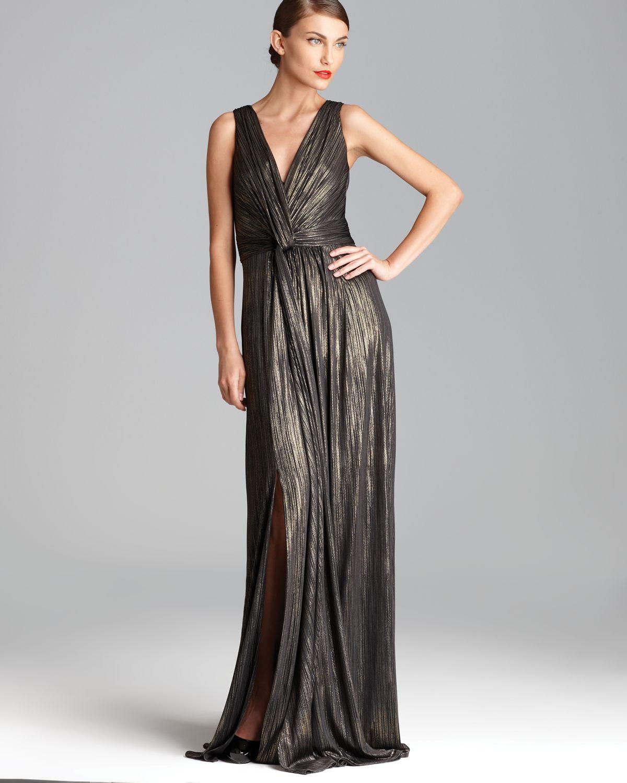 Lyst - David Meister V Neck Metallic Gown Sleeveless in Metallic