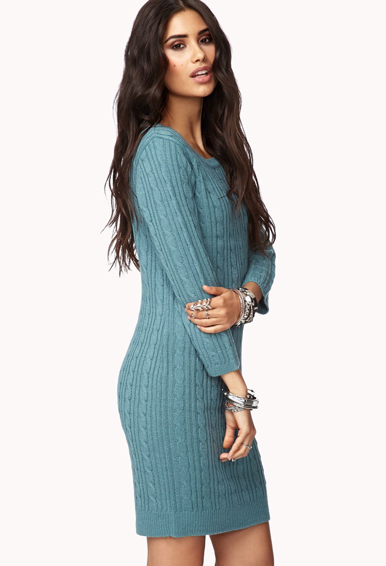 7ac74745b8 Forever 21 Essential Cable Sweater Dress in Blue - Lyst