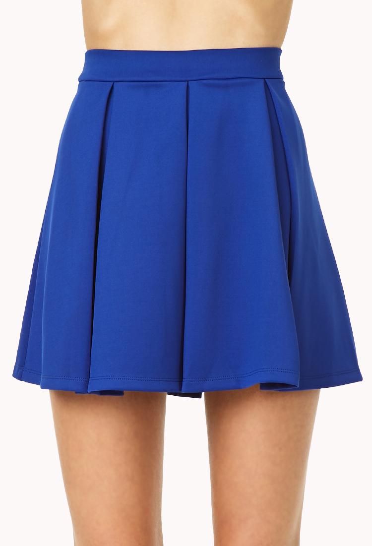 forever 21 cool pleated skater skirt in blue royal lyst