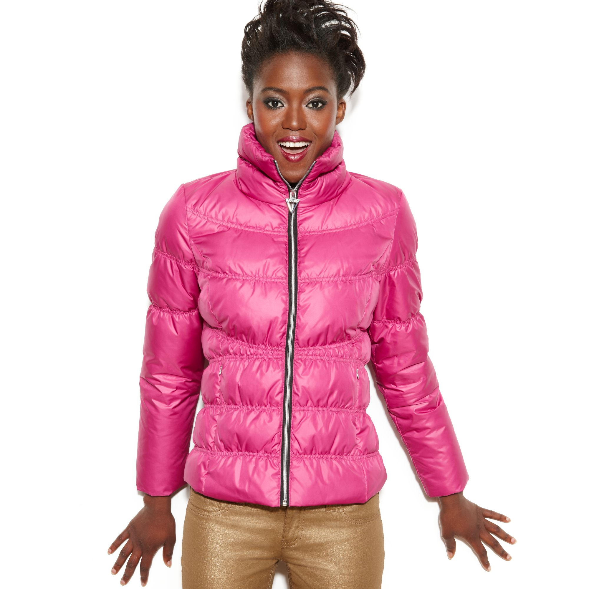 Guess Coat Funnelneck Quilted Puffer In Pink Magenta Lyst