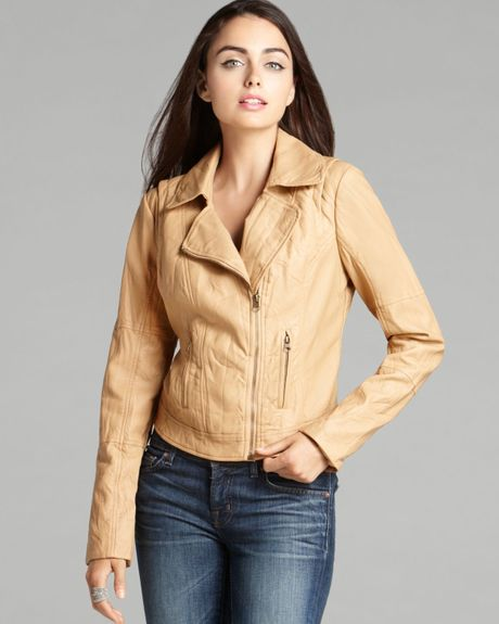 Guess Quilteddetail Fauxleather Jacket in Brown (Saddle)   Lyst