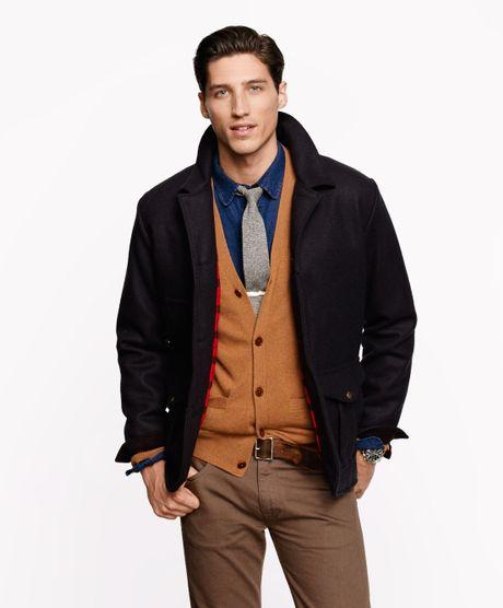 j crew filson yukon wool guide work jacket in blue for
