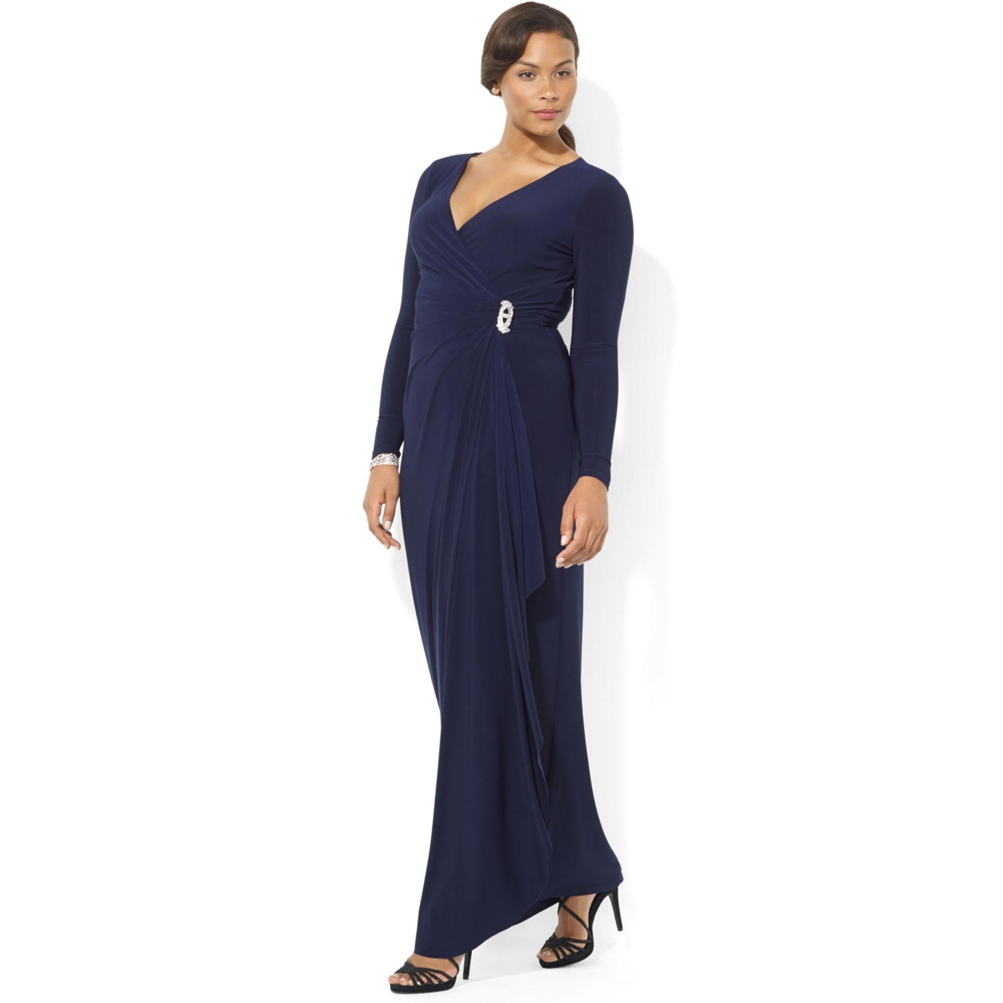 Lyst - Lauren by Ralph Lauren Long-sleeve Jersey Gown with Brooch in ... 18b37a33a