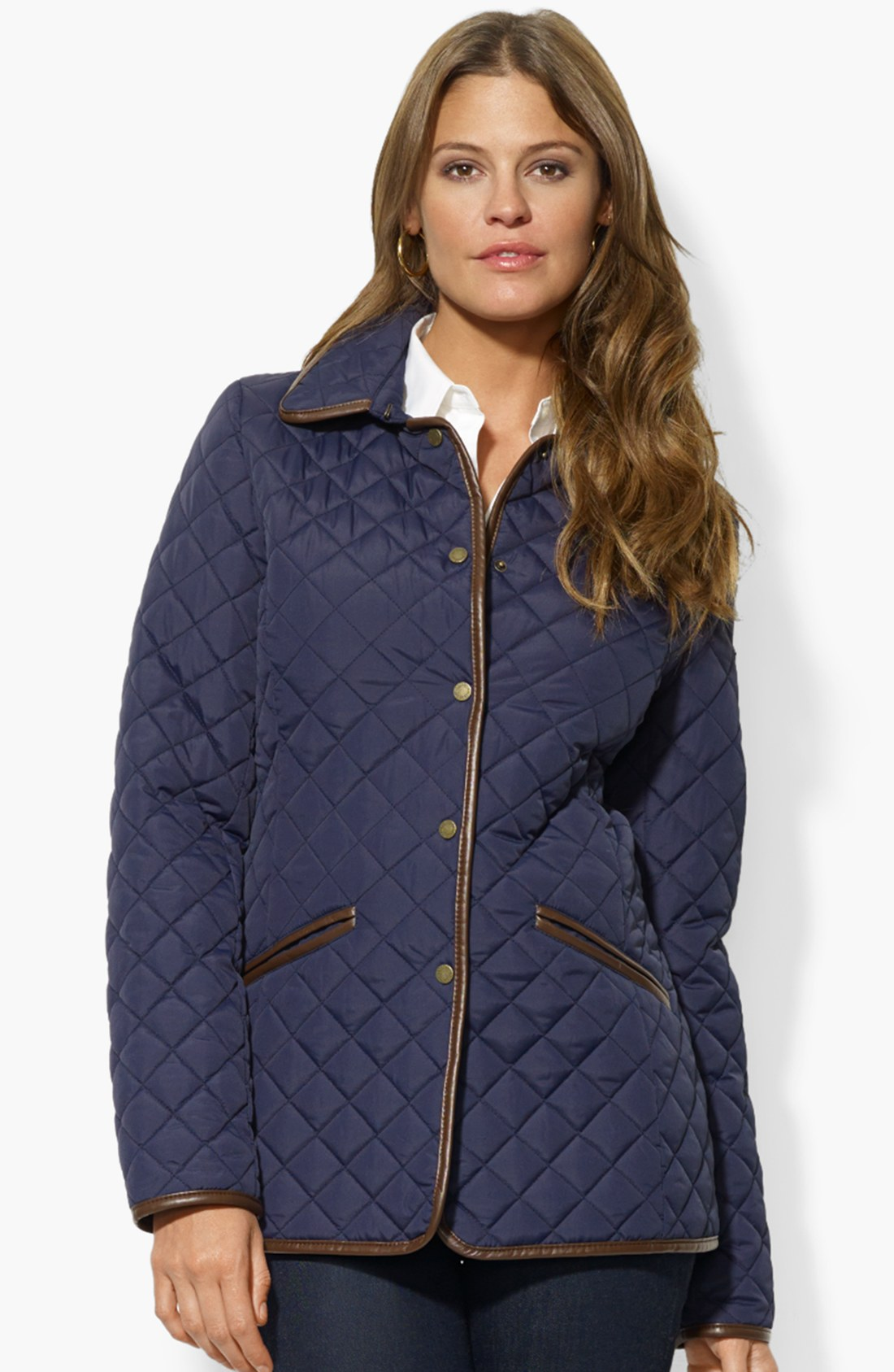 lauren by ralph lauren faux leather trim quilted jacket in