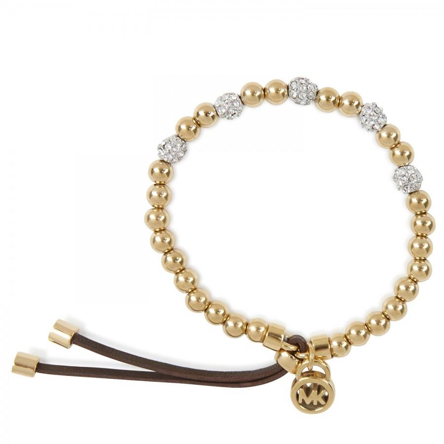 michael kors bead embellished bracelet in gold lyst. Black Bedroom Furniture Sets. Home Design Ideas