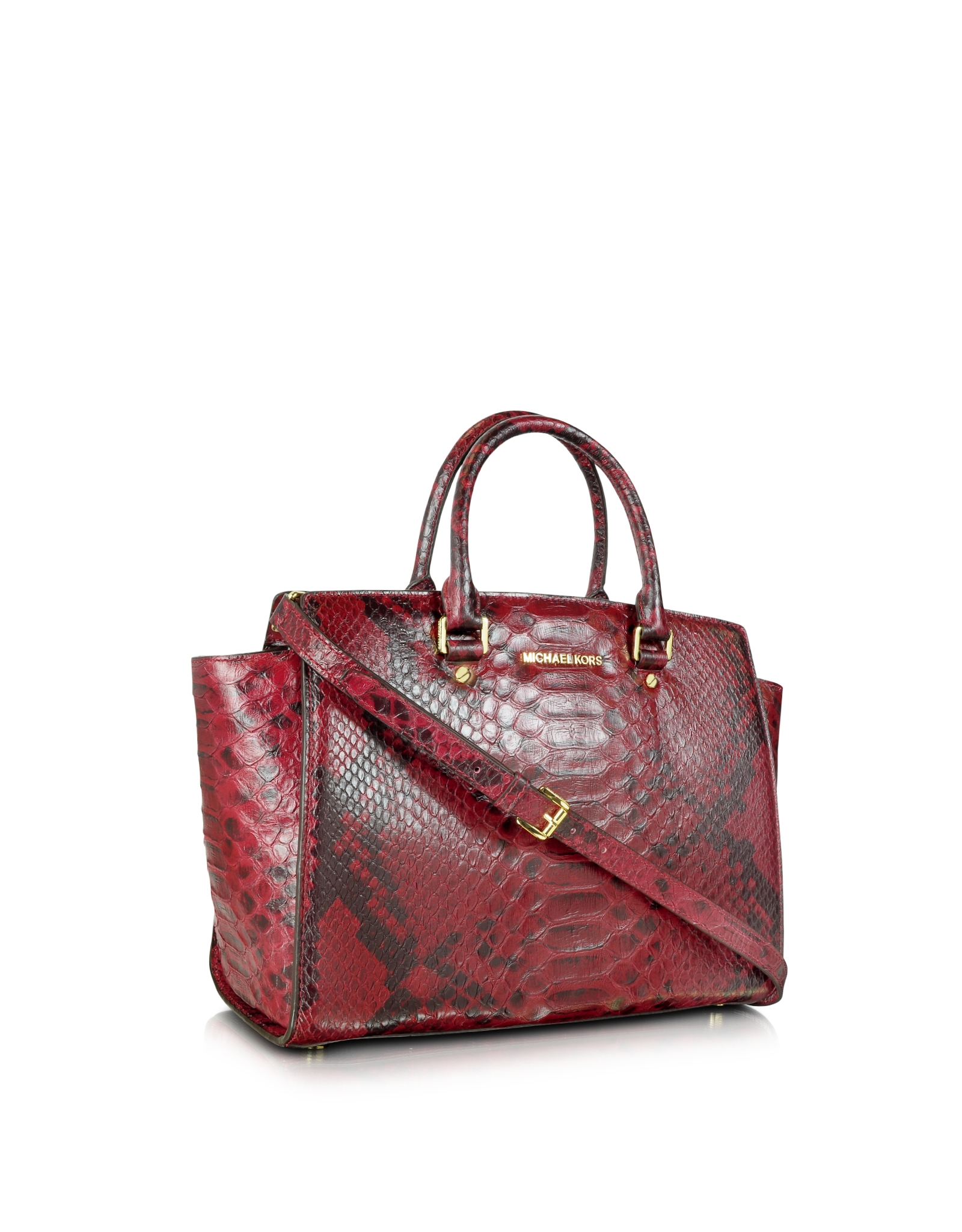 chloe knockoff handbags - Michael kors Selma Large Top Zip Anaconda Satchel Cinnabar in Red ...