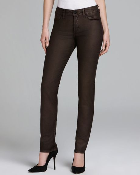 Nydj Sheri Copper Coated Skinny Jeans in Brown (Ganache/Copper Iridescence)