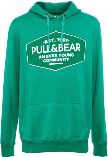 Pull Amp Bear Logo Sweatshirt In Green For Men Water Green