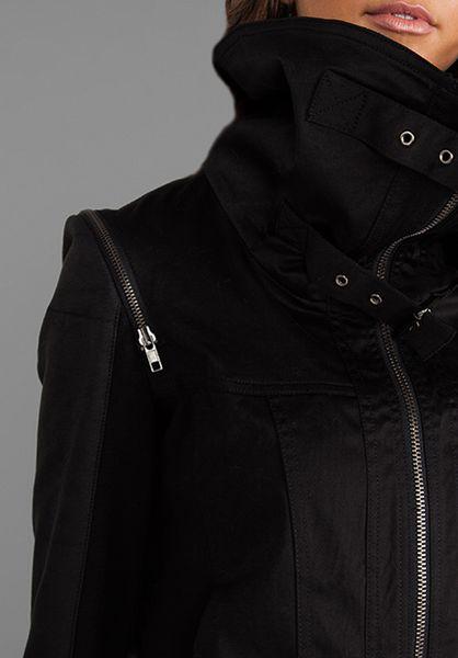 RVN Faux Leather Sleeve Jean Jacket