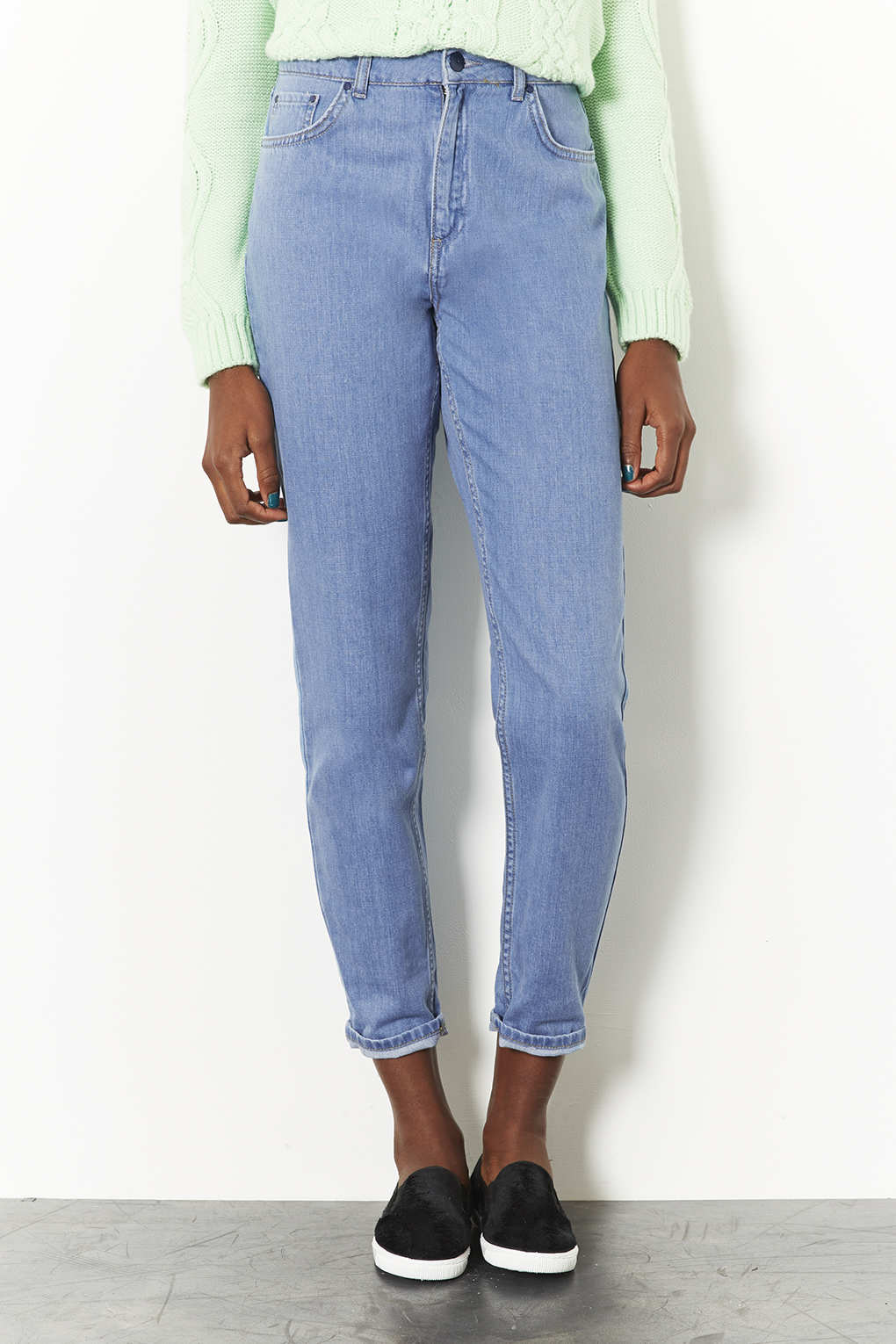 Topshop Bleach High Waisted Mom Jeans in Blue | Lyst