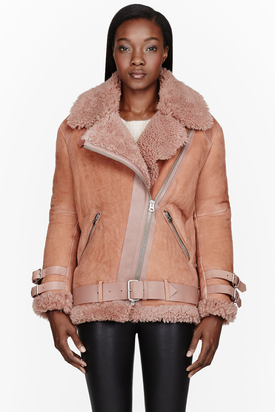 Acne studios Dusty Rose Belted Shearling Jacket in Pink | Lyst
