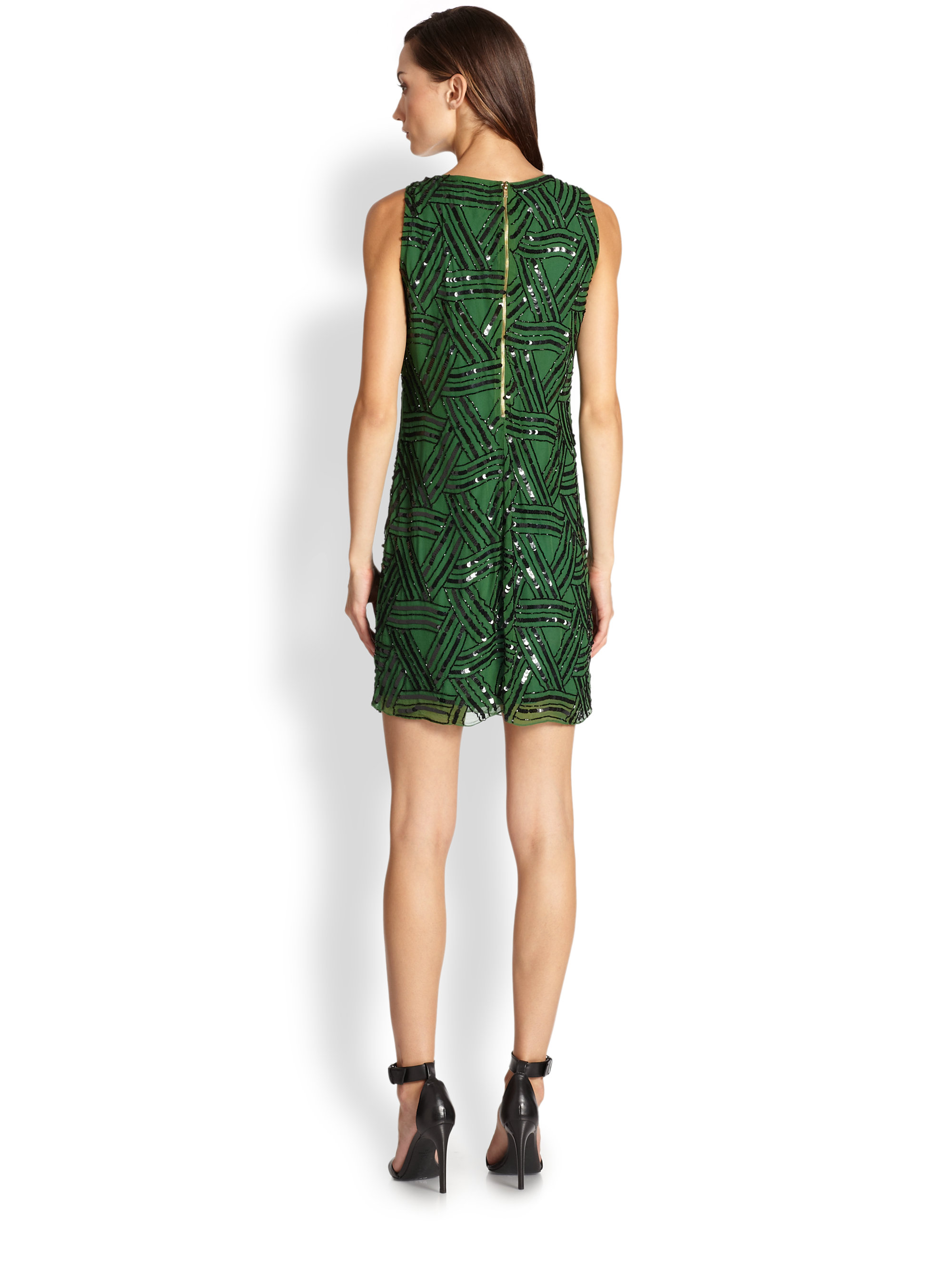 Alice   olivia Elliotte Silk Sequin Shift Dress in Green | Lyst