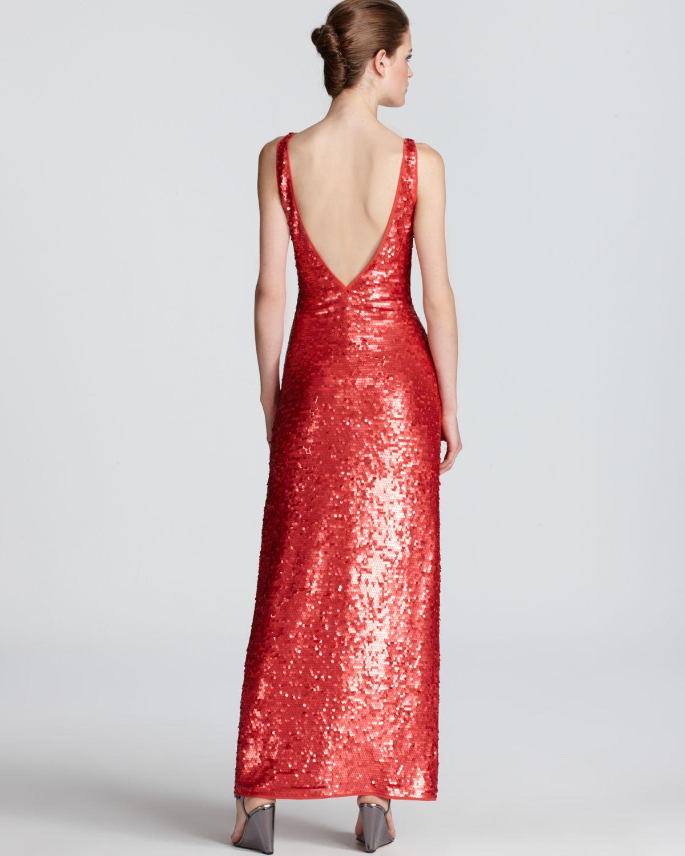 Bcbgmaxazria Sequin Dress Sleeveless V Neck in Red - Lyst