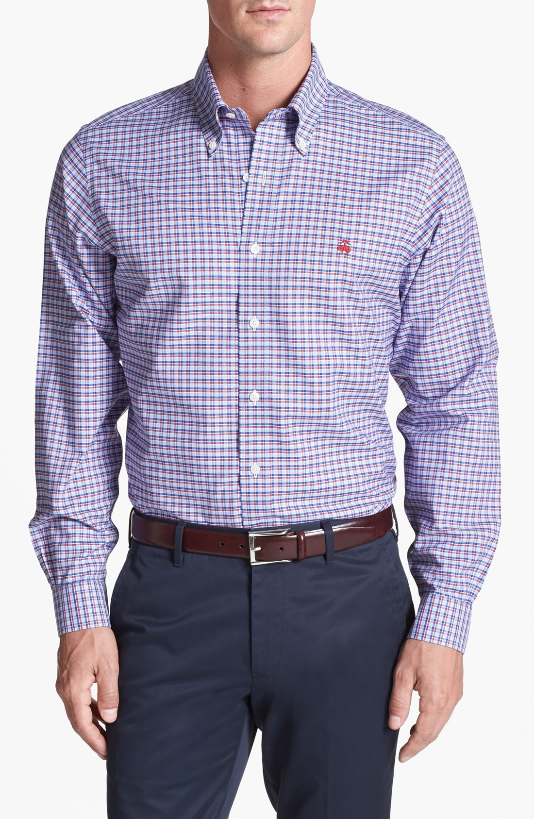 brooks brothers niox regular fit sport shirt in blue for