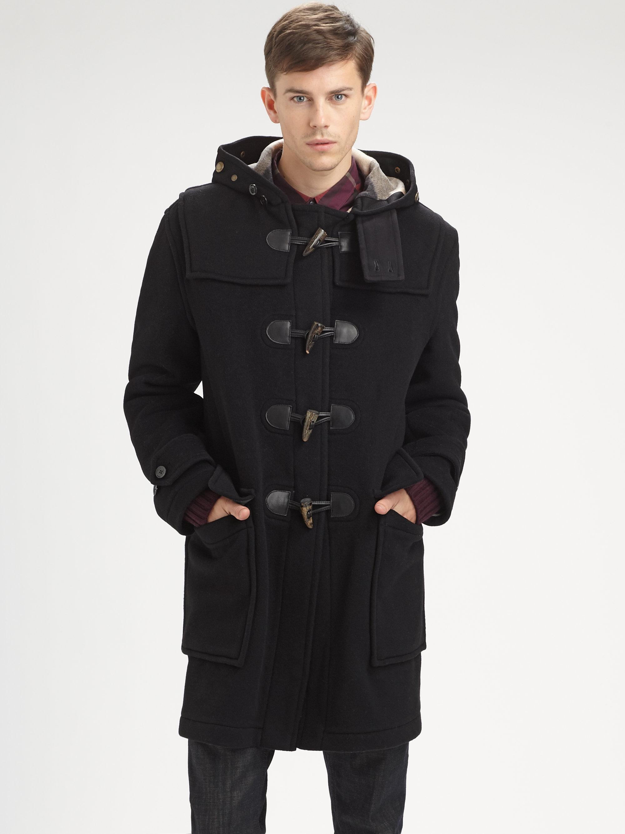 Burberry Brit Duffle Coat In Black For Men Lyst