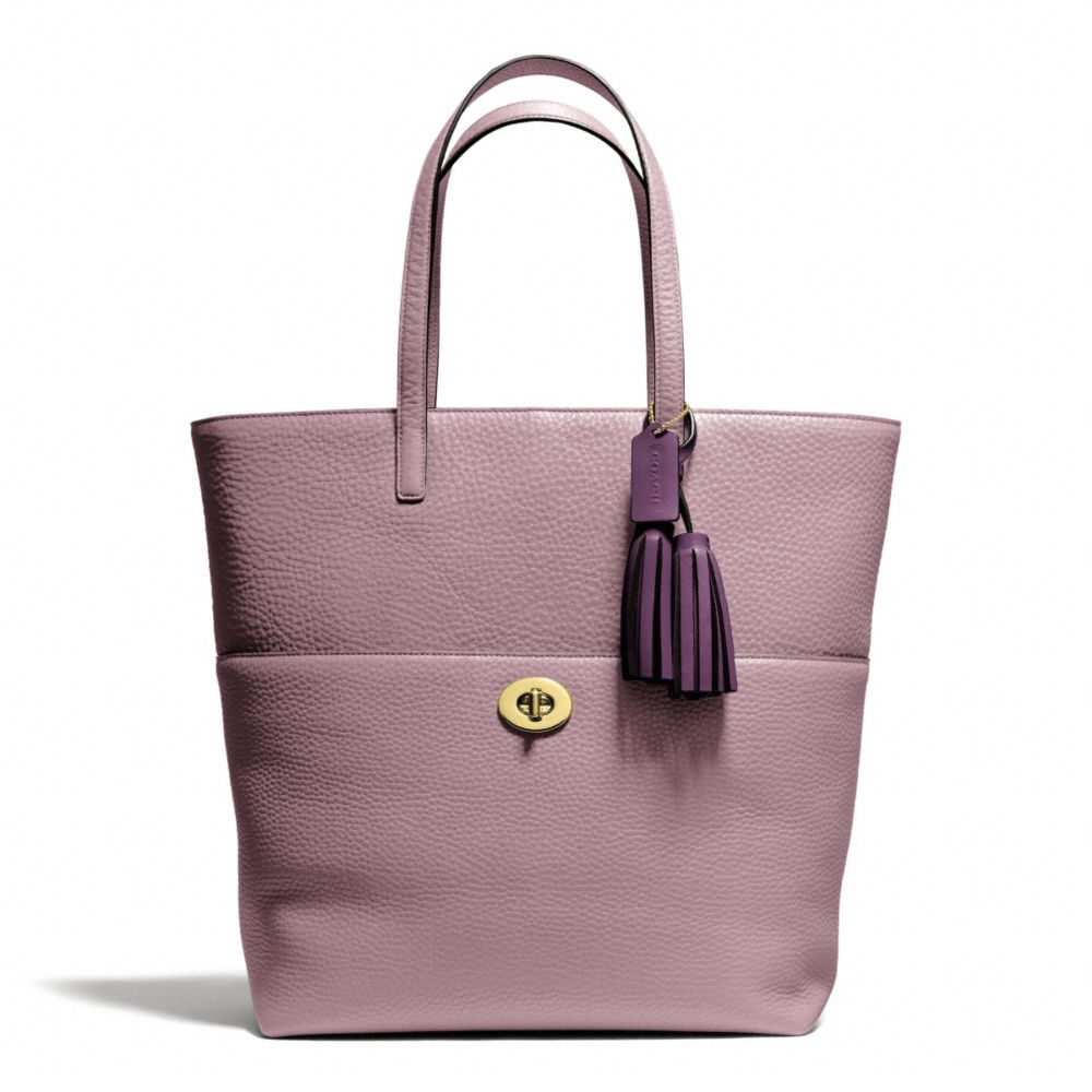 Coach Legacy Turnlock Tote in Pebbled Leather Brass/Mauve | coach fall 2013 handbags