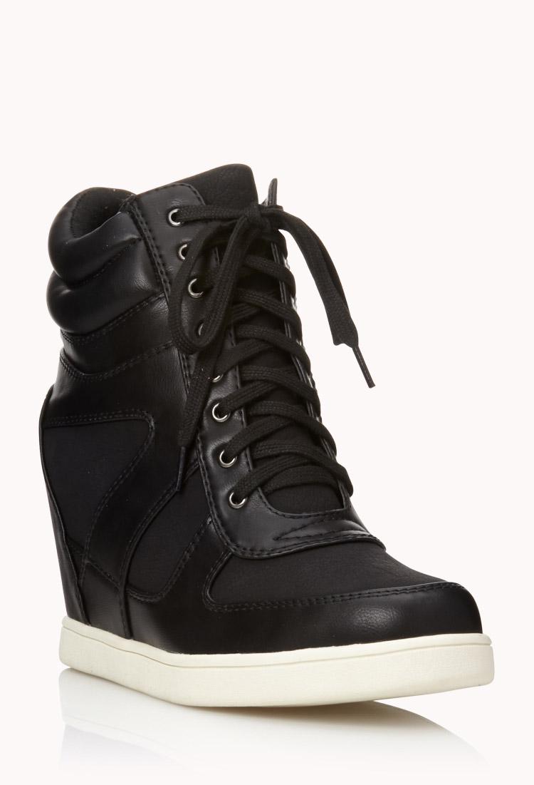 Forever 21 Sleek Colorblocked Wedge Sneakers In Black Lyst