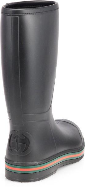 Gucci Rubber Rain Boots In Black For Men Lyst