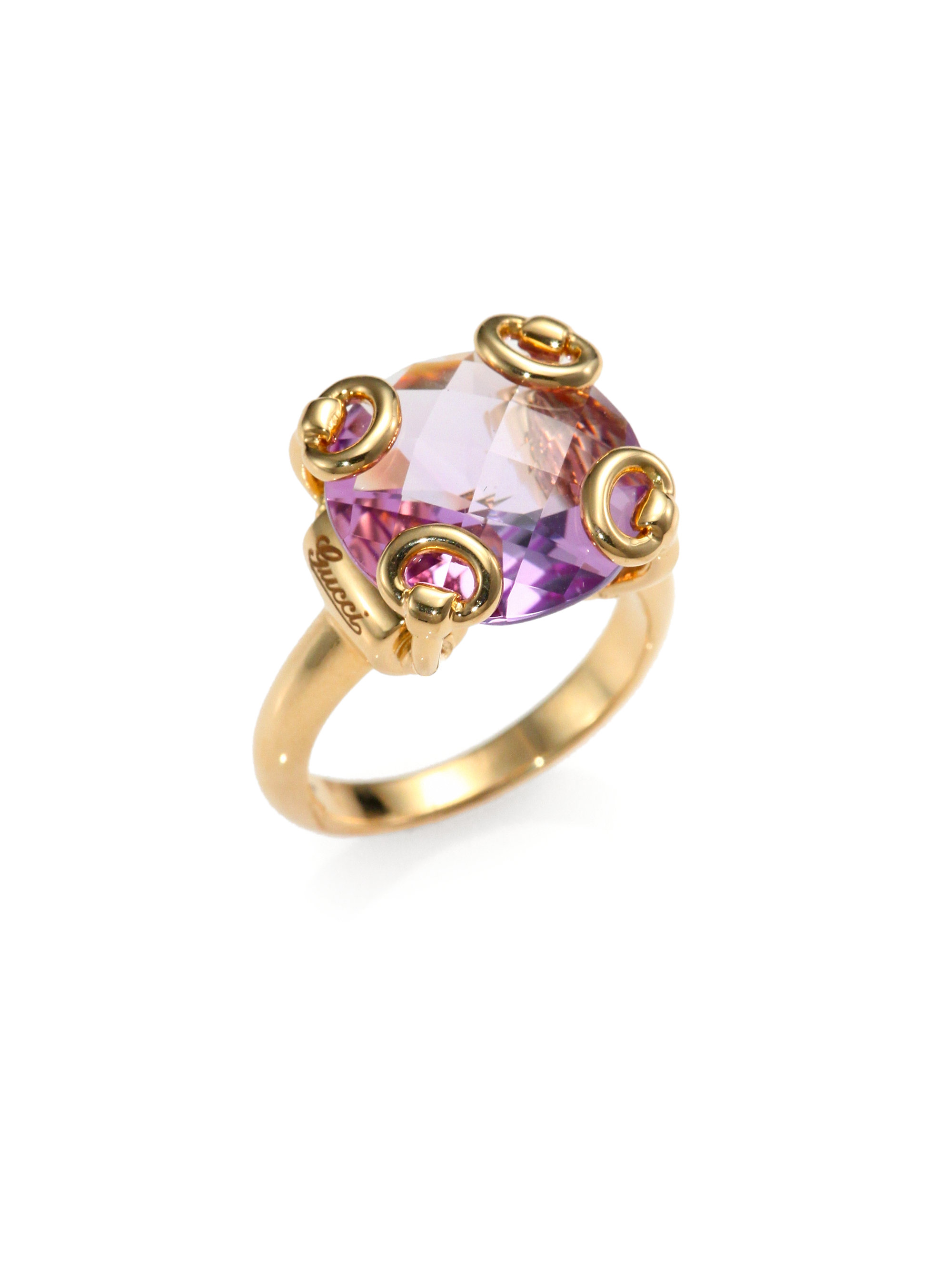 b58faa85c Gucci Horsebit Amtheyst 18k Yellow Gold Cocktail Ring in Purple - Lyst