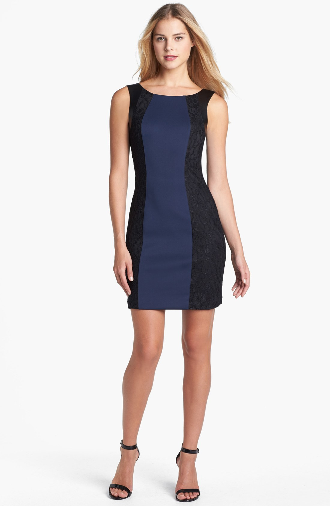 guess scuba lace sheath dress in blue navy black lyst