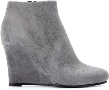 jil sander suede wedge ankle boots in gray light grey