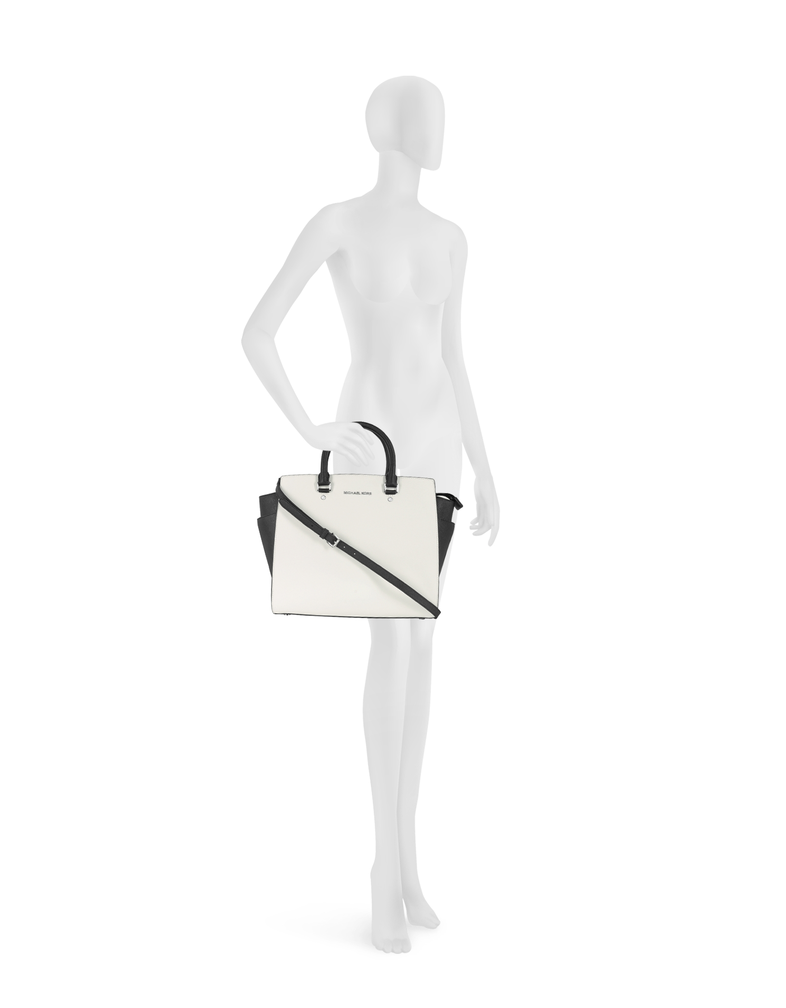 254a5d97c49efe Michael Kors Color Block Large Selma Saffiano Leather Tote in White ...