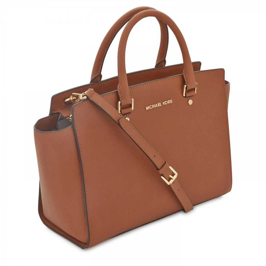 michael kors selma saffiano leather tote in brown lyst. Black Bedroom Furniture Sets. Home Design Ideas