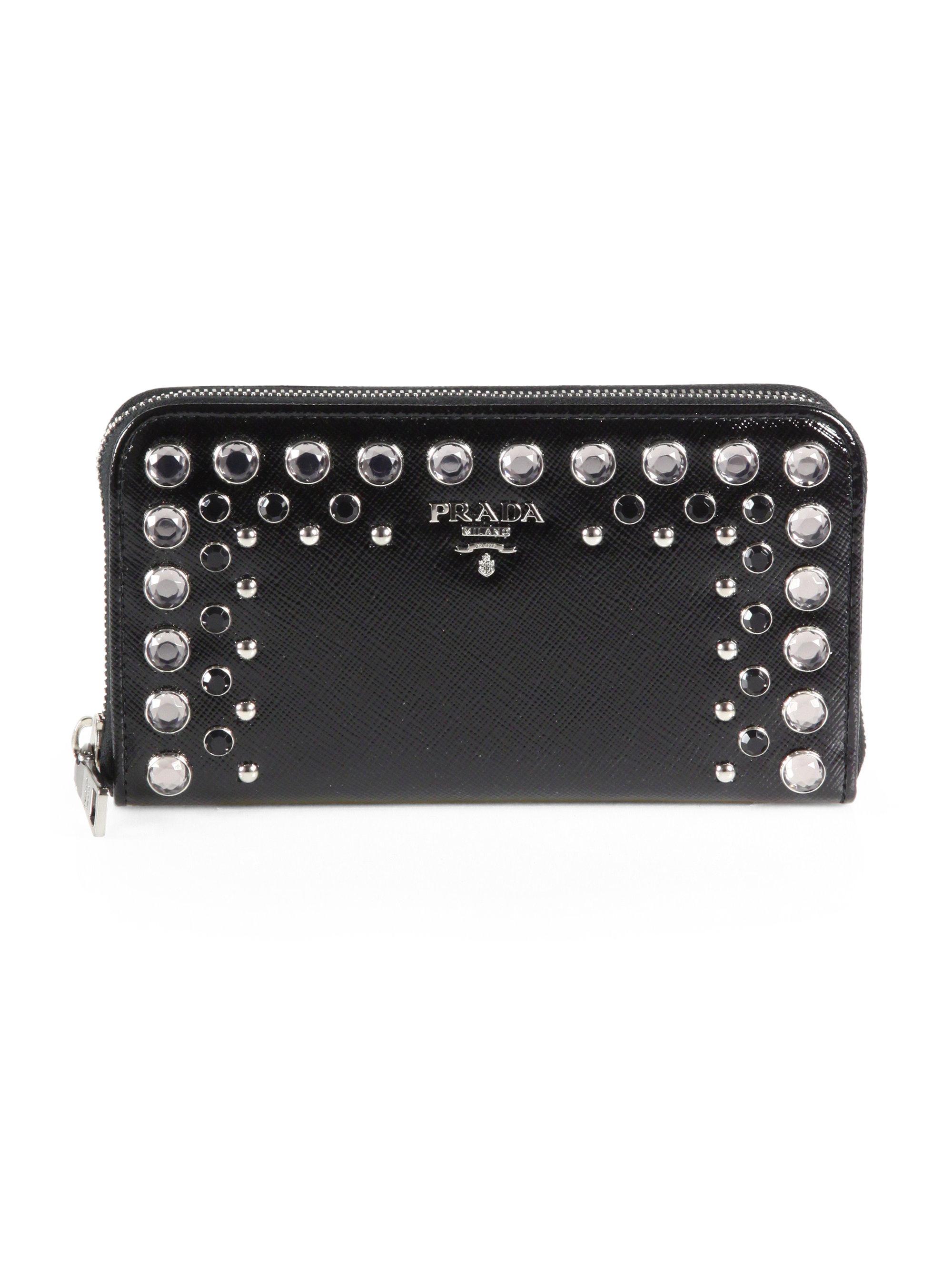 ... discount lyst prada studded saffiano vernice ziparound wallet in black  85fd1 c28a7 c9c5c779c955a