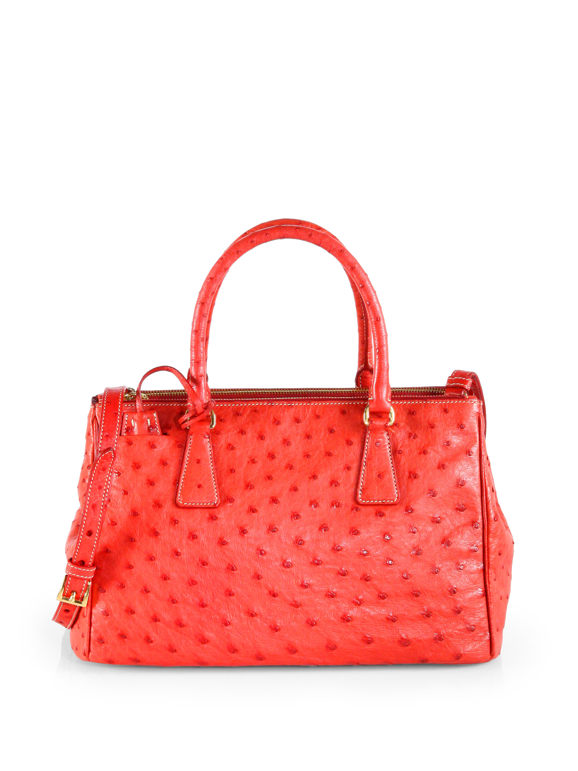 147689342dfe Prada Ostrich Double Zip Tote in Red - Lyst