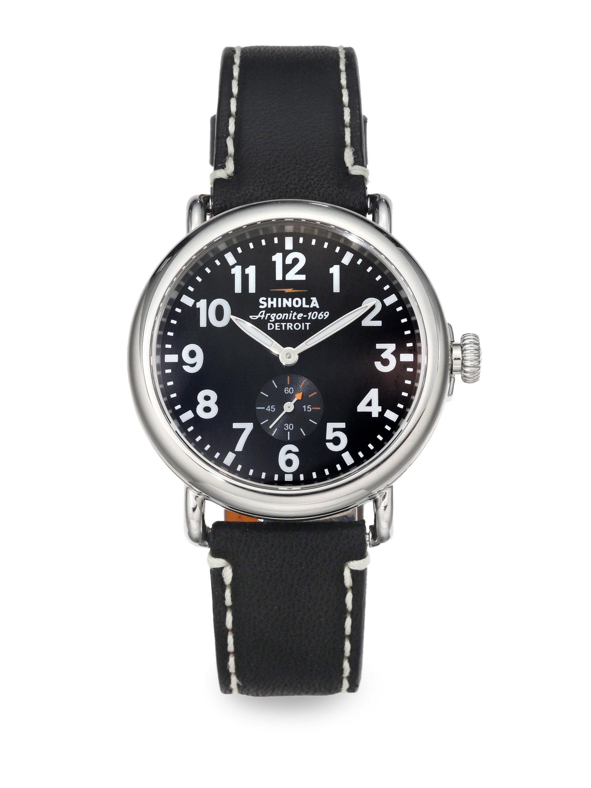 Shinola runwell stainless steel watch in gray for men black stainless steel lyst for Shinola watches