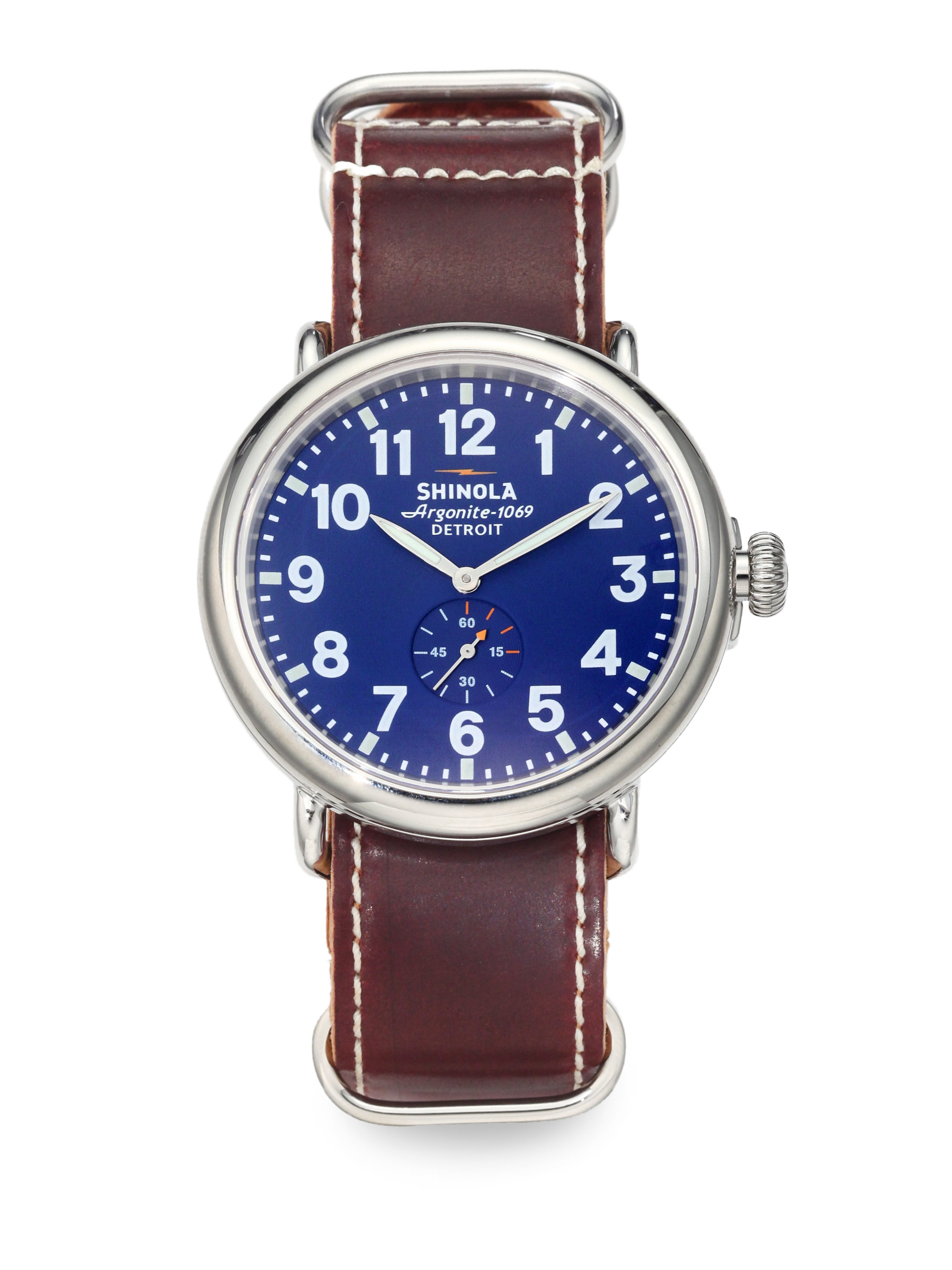 Lyst shinola runwell stainless steel watch in blue for men for Shinola watches