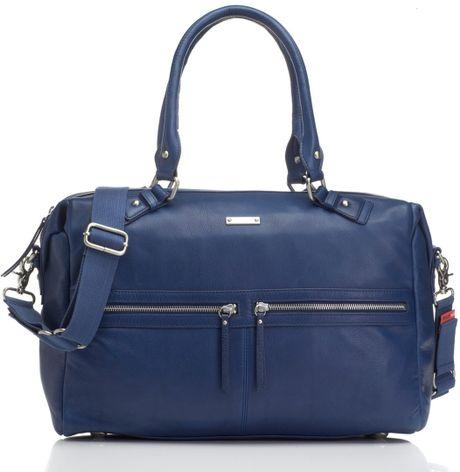 Storksak Caroline Leather Diaper Bag in Blue (Navy)