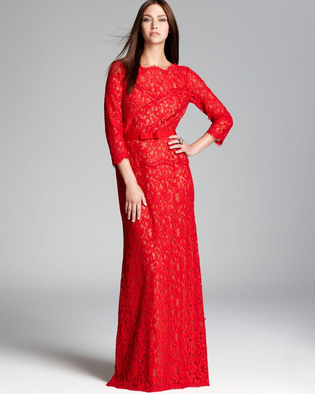 Lyst - Tadashi Shoji Lace Gown Three Quarter Sleeve in Red