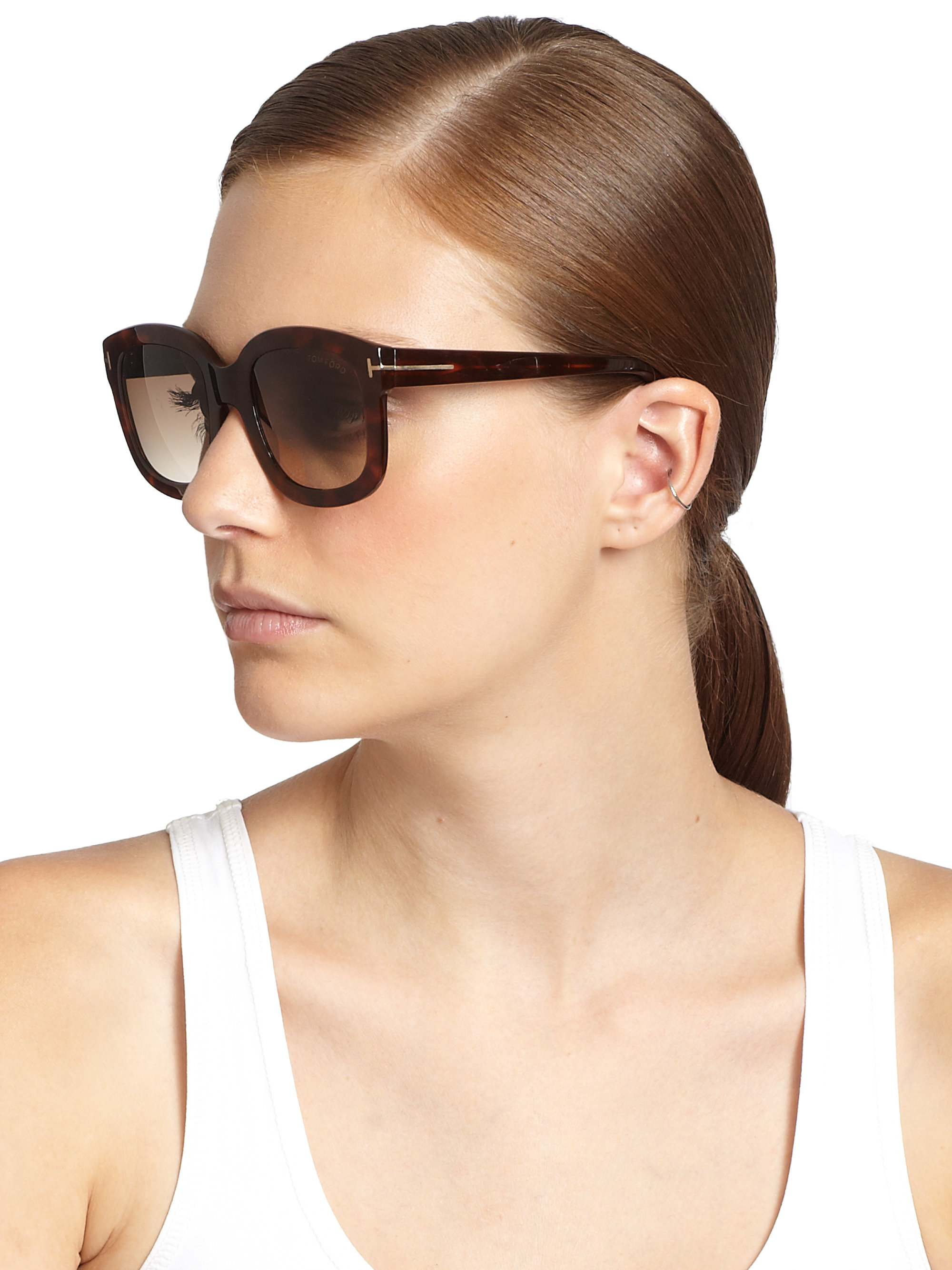 29f3cb7c84a11 Tom Ford Christophe Plasic Square Sunglasses in Brown - Lyst