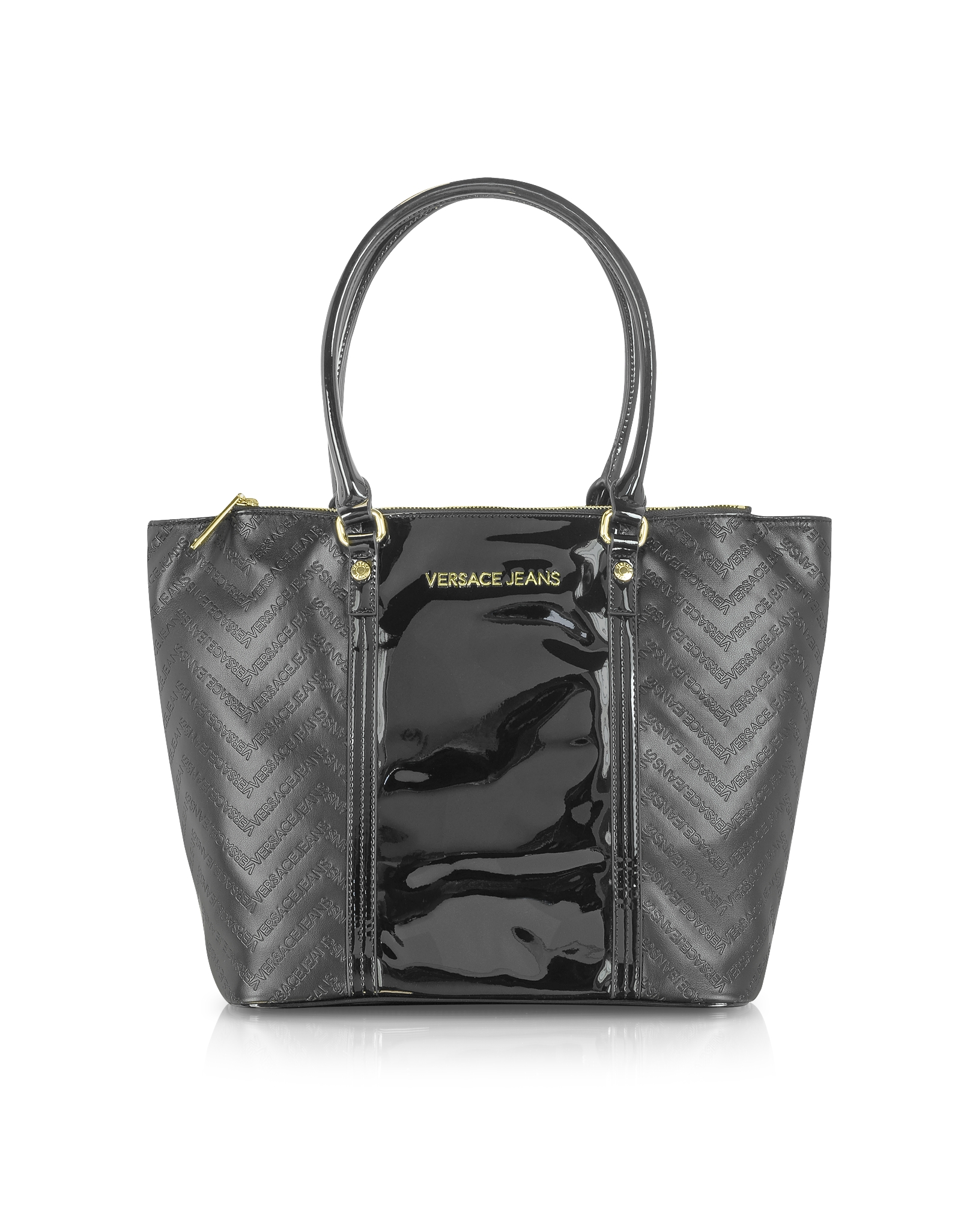 Versace Jeans Black Signature Eco Patent Leather Tote in Black - Lyst 2d974f94a41d8