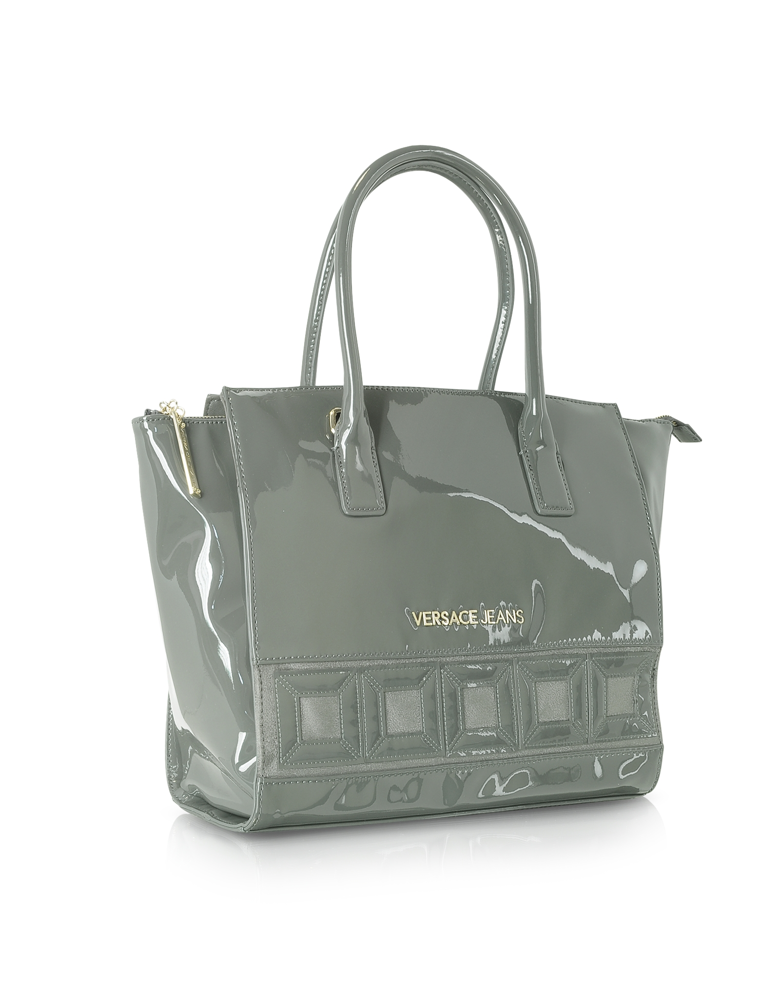Versace Jeans Patent Eco Leather Tote In Dark Gray in Gray - Lyst 10fe328df0
