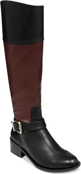 vince camuto leisha boots in brown black brown combo