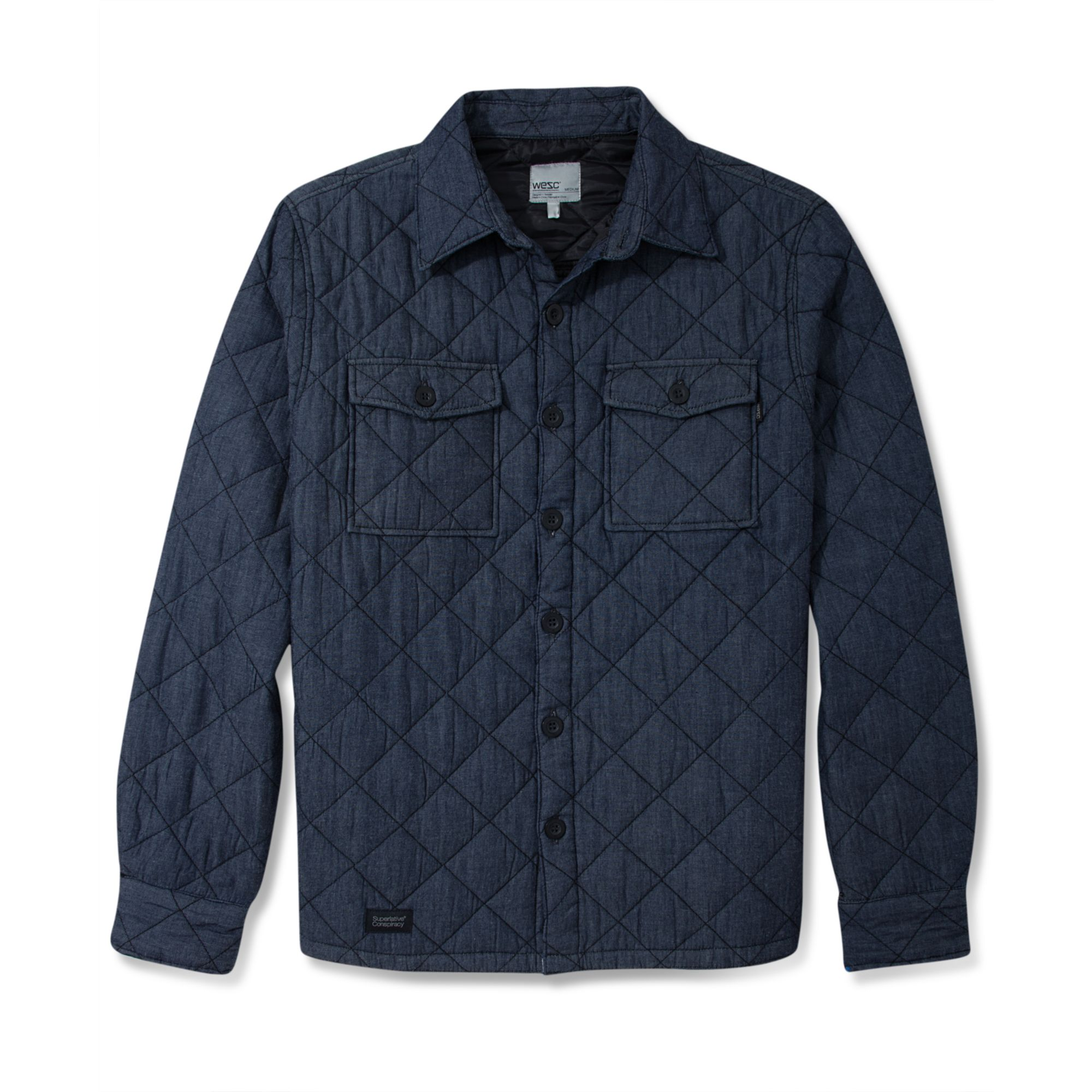 Wesc Quilted Shirt Jacket in Blue for Men (Midnight Blue ...