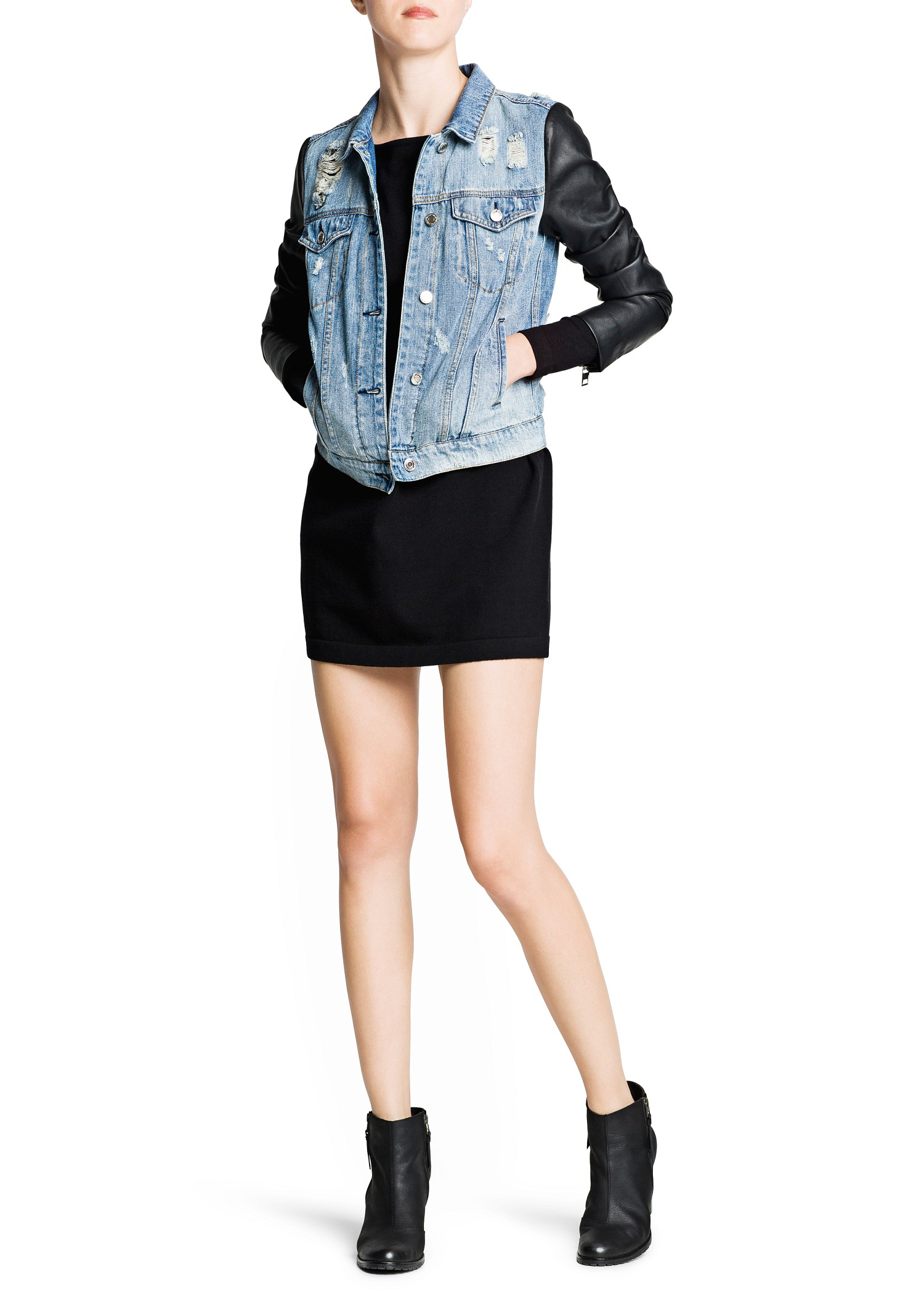 Denim jacket faux leather sleeves