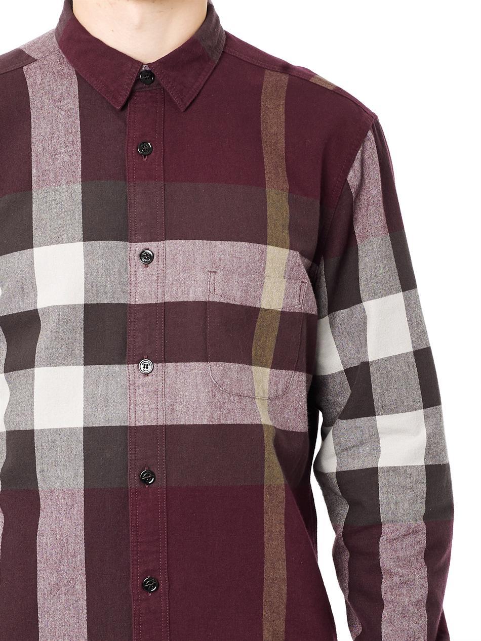 Lyst Burberry Brit Adken Check Flannel Shirt In Purple