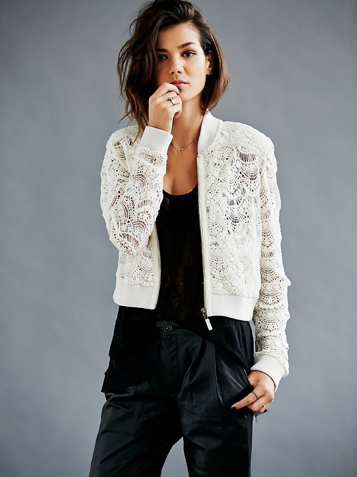 Lyst Free People Womens Lace Bomber Jacket In White