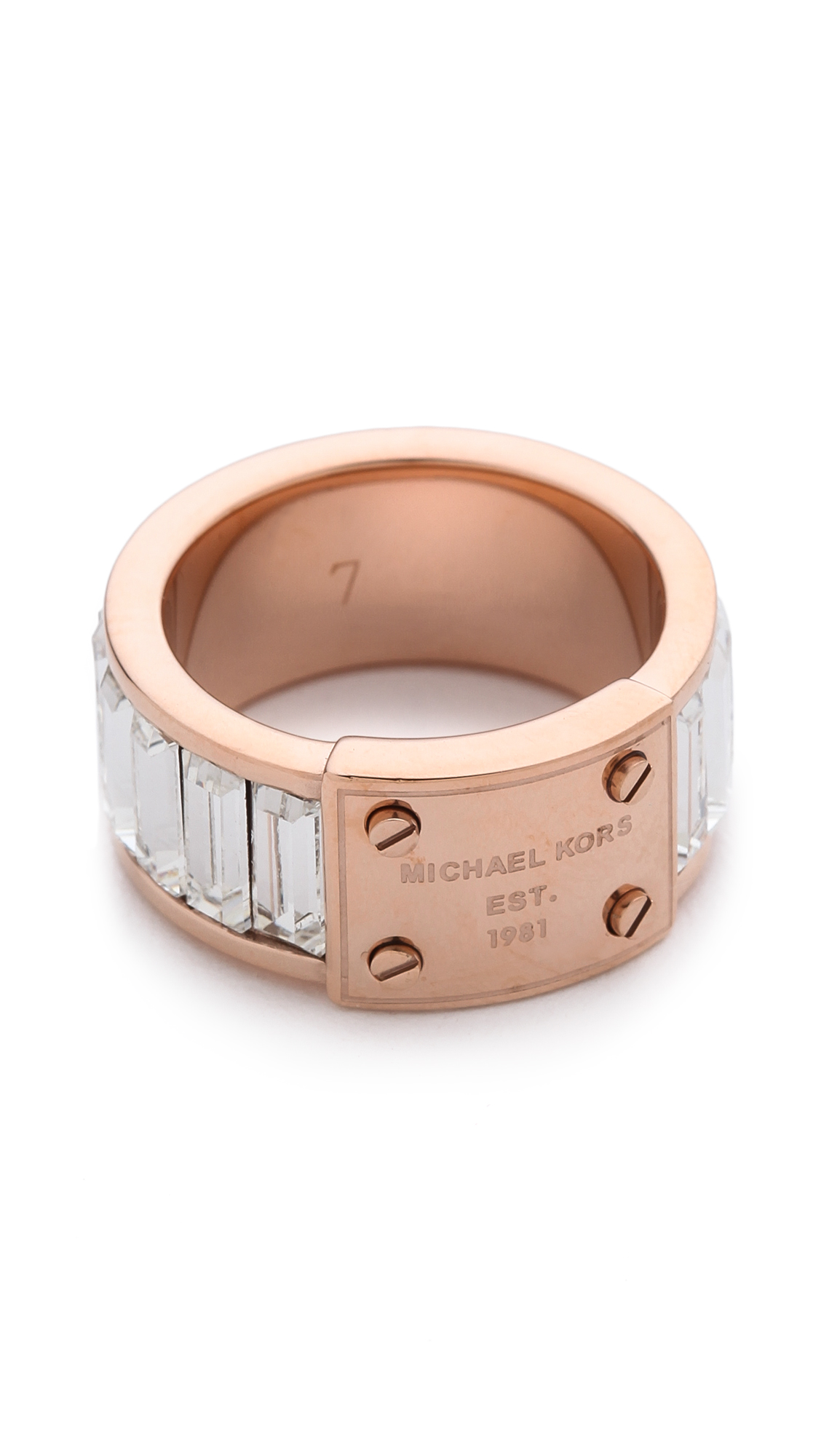 michael kors baguette plaque ring in pink rose gold clear lyst. Black Bedroom Furniture Sets. Home Design Ideas